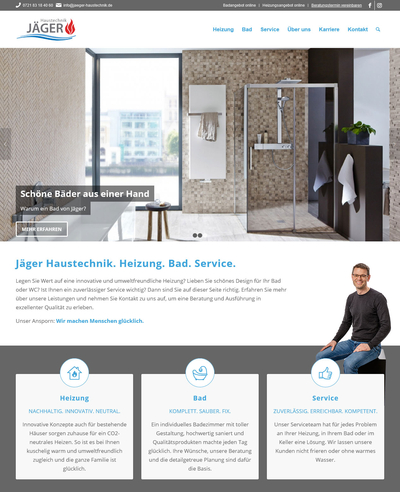 WordPress-Homepage: Jäger Haustechnik